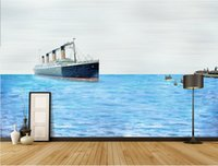 Wholesale chinese hand painted art resale online - 3d room wallpaper custom photo mural Europe hand painted sea art decor painting picture d wall murals wallpaper for walls d