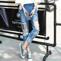 Wholesale Loose Harem Jeans Women - Wholesale- 9216 # real shot of the new wave of broken jeans women loose harem pants feet pants personality beggars pants