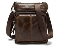 Wholesale Male Jobs - New men high quality Genuine leather zipper single shoulder messenger bag male fashion casual purse job bag black coffee brown and so on