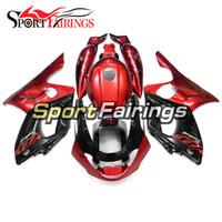 fairing thundercat 97 toptan satış-1997 07 - - 2007 Komple Motosiklet Takımı ABS Fairing Plastik cowling'ler Kapaklar Yamaha YZF600R Thundercat 97 için Kırmızı Siyah Enjeksiyon Kalafatlama