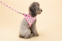 Wholesale Dog Collars Strawberries - Hipidog Soft Mesh Padded Pink Print Cute Strawberry Vest Harness Dog Harness Leash Set Chest Strap Leads for Small Dogs Pets