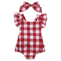 Wholesale red jumpsuit costume - High Summer Girl Kids Cotton Romper Jumpsuit Baby Bodysuit Clothes Outfit Costume Infants Cllothing
