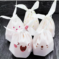 Wholesale Rabbit Print Bag - Cute Rabbit Ear Cookie Bags Self-adhesive Plastic Bags for Biscuits Snack Baking Package Food Bag Party Supplies