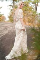 Половинные рукава Ivory Lace Vintage Wedding Dress с открытым V Back Boho Bridal Dress