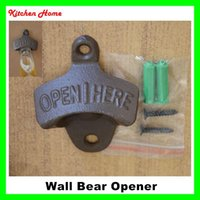 Wholesale Promotional Wine Bottles - Retro Metal Wall Hanging Wine Bottle Openers with Screws Wall Mounted Fixed Vintage Beer Opener Tools for Bar KTV Unique Promotional Gifts