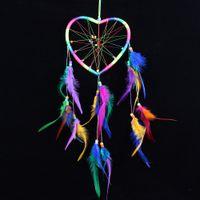 Wholesale Rainbow Wedding Decor - Heart Shape Windbell Rainbow Colorful Feather Dreamcatcher Wind Chimes Handmade Lace Dream Catcher Ornament Craft Gift Home Decor 9 5lz B R