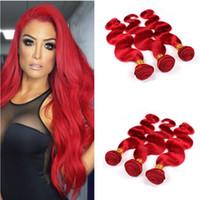 dalgalı saç uzatma atkıları toptan satış-Perulu Bakire Vücut Dalga İnsan Saç Dokuma Atkılar 3 Adet Lot Saf Renkli # Kırmızı Dalgalı Saç Uzantıları