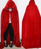Wholesale Corduroy Cape - Adult Gothic Hooded Velvet Cloak Wicca Robe Medieval Witchcraft Larp Cape Halloween Costumes Women Men Vampire Size S M L XL