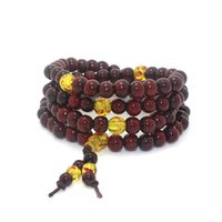 Bracelete com contas 108 * 8 milímetros Red Wine Imitation Ebony Prayer Beads Tibetan Buddhist Mala Buddha Bracelet Rosary Wooden Bangle Jewelry