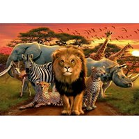 Wholesale wild decor for sale - Group buy Sunset Wild Animals Full Drill DIY Mosaic Needlework Diamond Painting Embroidery Cross Stitch Craft Kit Wall Home Hanging Decor