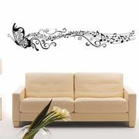 музыкальная нота виниловый рисунок оптовых-Горячая росписи искусства украшения дома стикер стены комнаты бабочка музыкальные ноты съемный виниловые наклейки