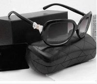 Wholesale Bow Glasses Frame - Polarizer female square large frame Bow Black Sunglasses Black women fashion sunglasses classic 5171