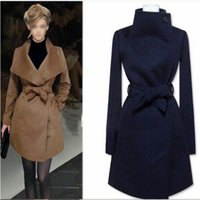 Neue 2016 Herbst Winter Fashion Woolen Mittel-lange Jacke Full Sleeve Big Turn-down Kragen Solid Slim Frauen Casual Mantel LY1123