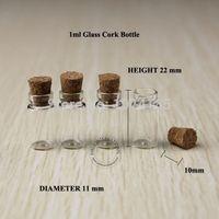 ingrosso piccoli tappi di bottiglie-Bottiglie di vetro delle fiale di vetro all'ingrosso 200pcs / lot 1ml con la bottiglia di vetro molto piccola dei tappi del sughero, bottiglia di desiderio che spedice liberamente