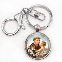 Wholesale Saints Rings - St Anthony of Padua Keychain Saint Pendant KeyringArt St Anthony Jewelry Cabochon Religious Religious Gift Key Chain Ring