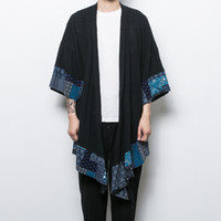 Wholesale China Fashion Coat - Wholesale- China style men's cotton linen trench jacket long kimono windbreaker coat male loose shawl cardigan coat