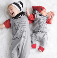 Wholesale Infants Rompers Baby Animal - 2017 Boys Baby Hooded Jumpsuits Cartoon Dinosaur Rompers Clothing Red Short Sleeve Cotton Toddler Romper Infant Onesies Boutique Clothes