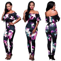 Wholesale Casual Elegant Jumpsuit - S-4XL Ruffle Off Shoulder Jumpsuit Womens Elegant Floral Big Plus Size Party Club Overalls Sexy Rompers Womens Jumpsuit