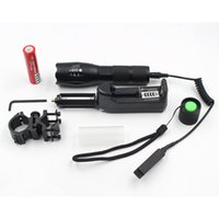 Wholesale Remote Switch For Torch - CREE XM-L T6 led tactical flashlight 5000Lm zoomable torch for Hunting +battery+Remote Switch+Charger+Gun Mount