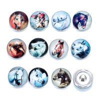 zebra cazibesi toptan satış-Toptan Yeni 18mm Zencefil Snaps Düğme Cam Kristal Düğme Hayvan serisi Zebra tavşan Desen Fit Charm Bilezikler DIY Takı noosa topakları