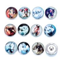 Wholesale Glass Chunks - Wholesale New 18mm Ginger Snaps Button Glass Crystal Button Animal series Zebra rabbit Pattern Fit Charm Bracelets DIY Jewelry noosa chunks