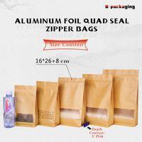 Wholesale Wholesale Flat Kraft Paper Bags - 5 pcs 16x26cm Mat Stand Up Zip Top Kraft Paper Block Bottom Bags   Flat Bottom Bag   Flat Bottom Paper Pouch
