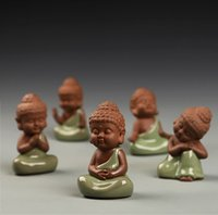 Wholesale Antique Chinese Tea - 2016 New Creative Small Porcelain Ceramic Chinese Style Buddha Monk Tea Pet Home Buddhism Arts Crafts Ornament Decoration
