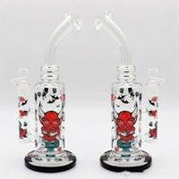 Wholesale Cheap Glass Water Bongs - On Sale Monster Logo Glass Bongs Tall 31cm Bowl 18.8mm Cartoon Circulate Oil Rigs Smoking Water Pipes Print Tire Perc Cheap Hookahs