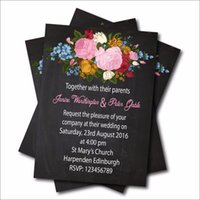 Wholesale Lace Vintage Invitations - Wholesale- 20pcs Personalized Vintage Floral Wedding invitation Rustic Lace Chalkboard wedding Invites Bridal Shower decoration supplier