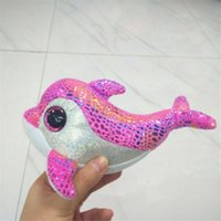 Wholesale Wholesale Pink Dolphin Beanies - Wholesale- Ty Beanie Boos Original Big Eyes Plush Toy Kawaii Doll Child Birthday Pink Dolphin Stuffed Animals TY Baby 15 cm L185