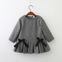 Wholesale American Wholesale Baby - Girls Plaid Dresses 2018 Baby Girls Long sleeve Bow Dress Babies Fashion Ruffles Dress Kids Winter Clothing