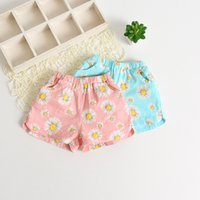 Wholesale Sunflower Pants - Everweekend Girls Sunflower Print Cotton Shorts Candy Color Sweet Baby Summer Pants