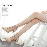 Wholesale Womens Dance Shoes High Heel - Elegant Sandals Wedding Prom Party Womens Shoes Pointed Toe High Heels Ladies Dance Dress Shoe Heel 7.5 cm Buckle Strap Rivets