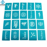 Wholesale Temporary Tattoo Airbrush Stencil Sets - Wholesale-OPHIR 20PCS Airbrush Stencils Temporary Tattoo Templates Henna Body Glitter Stencils Set for Halloween _STE004