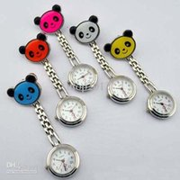 Wholesale Hanging Chain Watches - DHL Free 10 Colors Panda Style Nurse Medical Doctor Clip on Clip-on Fob Pendant Hanging Pocket Chain Quartz Watch Watches