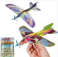 Wholesale Enlighten Aircraft - New Style Aviation Plane Model Foam Sets Mini Enlighten Toys Aircraft DIY Assembly Model Airplane For Boys Birthday Gift