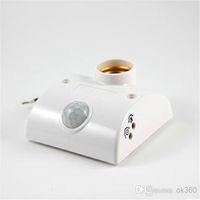 Wholesale Automatic Light Switching - Infrared Motion Automatic Sensor Light Lamp Bulb Holder Stand Switch White PIR E27 Lamp switch E27 Holder Socket AC170V-250V
