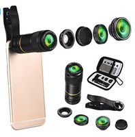Wholesale Telephoto Universal 12x - Universal 5 In 1 Mobile Phone Camera Lens 198 Degree Fisheye Fish Eye 12X Telephoto Lens Macro Wide Angle Lens for Phones