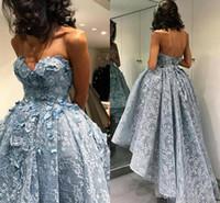 ingrosso vestito da abito da sera di zuhair murad-2019 Zuhair Murad Blue High Low Prom Dresses Sweetheart 3D Floral Appliques Ball Gown Abito da sera vintage arabo formale