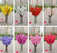 Wholesale Flower Gladiolus - Wholesale-12pcs 80cm Silk Gladiolus Flower (7 heads Piece) Fake Sword Lily for Wedding Party Centerpieces Artificial Decorative Flowers