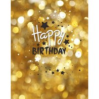 Golden Bokeh Photograpgy Backdrop Glitters Dots Happy Birthday Fond photographique Kids Custom Studio Vinyl Backdrops foto
