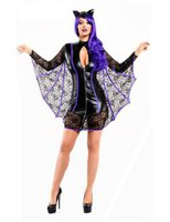 Wholesale unique women costumes for sale - Unique Black Women Bat Cosplay Costume Fancy Dress With Wings Halloween Party Outfit Carnival Sexy Vampire Costume