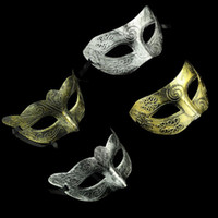 Wholesale Masquerade Masks Men Gladiator - Men's retro Greco-Roman Gladiator masquerade masks Vintage Golden Silver Mask silver Carnival Mask Mens Halloween Costume Party Mask
