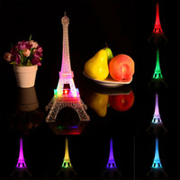 Wholesale Color Changing Table Lamps - Wholesale- 2016 Romantic Creative Eiffel Tower Desk Bedroom Night Light Decoration Table LED Lamp, Night lamp Changes Color NG4S
