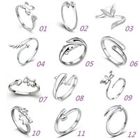 Wholesale Silver Butterfly Rings For Women - 925 Sterling Silver Jewerly Rings Dolphins Dragonfly Wings Of The Angel Love Fox Butterfly Opening Adjustable Ring For Women gifts