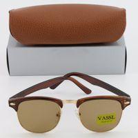 Wholesale Luxury Fashion Eyeglass Frame Brands - 1pcs Vassl Fashion Women Men luxury Sunglasses Unisex Semi-Rimless Sun glasses Brand Designer eyeglasses Lens 8 Color With Brown Box Case