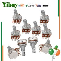 Wholesale 16mm shaft - Wholesale- Yibuy 10pcs Guitar Potentiometer B500k 16mm Base Dia 18mm Shaft