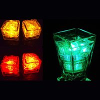Wholesale Colorful Blinking Led - Blinking Flash Luminous Change Colored RGB Led Cube Ice In Water Light Nightlight Colorful For Wedding Party Bar