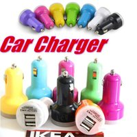 Wholesale Electronic Cigarette Usb Charger Color - Mini 2 USB Ports Car Chargers Universal Mini Dual Adapter Charge For IPhone 6 Plus IPad 4 Samsung Galaxy S7 and electronic cigarette Ego