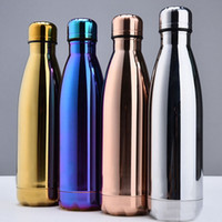 Wholesale Stainless Steel Vacuum Travel Bottle - New Water Cup Insulation Mug 500ML Vacuum Bottle Sports 304 Stainless Steel Cola Bowling Shape Travel Mugs 4 Color Free DHL WX-C19